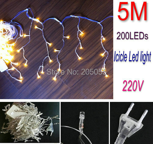 16ft 5M 200LED icicle curtain led string lights Snowing Christmas light Garden lamp for Xmas Wedding Party Decor 220V-WARM WHITE(China (Mainland))