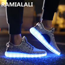Led Shoes Women Shoes With Light Yeezy Superstar Light Up Shoes 2016 Glowing Big Size Men Flats 11 Colors Chaussure Femme(China (Mainland))
