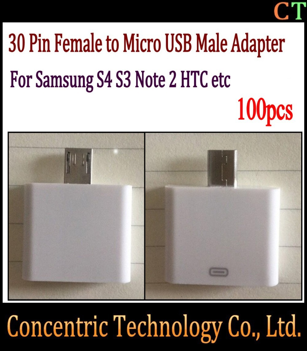 100pcs 30 Pin Female to Micro USB Male Adapter to 5 Pin Micro for Samsung Galaxy S4 i9500 / S3 i9300 / for Note 2 N7100