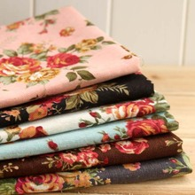 Rose Thin fabric 7 Assorted Pre-Cut Cotton Linen Quilt Fabric Black| coffee| pink | light blue| white | grey| red 50*70CM(China (Mainland))