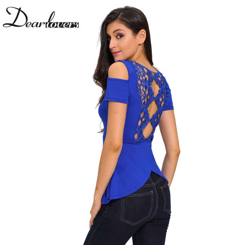 Dear lover Summer Ladies Tops Blue Crochet Back Cold Shoulder Top Casual Style T Shirt Women Camisas Femininas 2017 LC25824(China (Mainland))