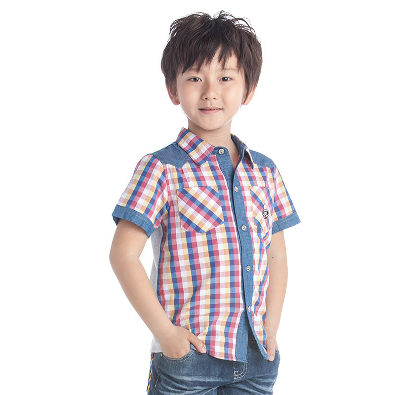 Kids Boys  Lattice  Casual Dress Blouse Causal  Kids Clothes Size 4-11 Years <br><br>Aliexpress