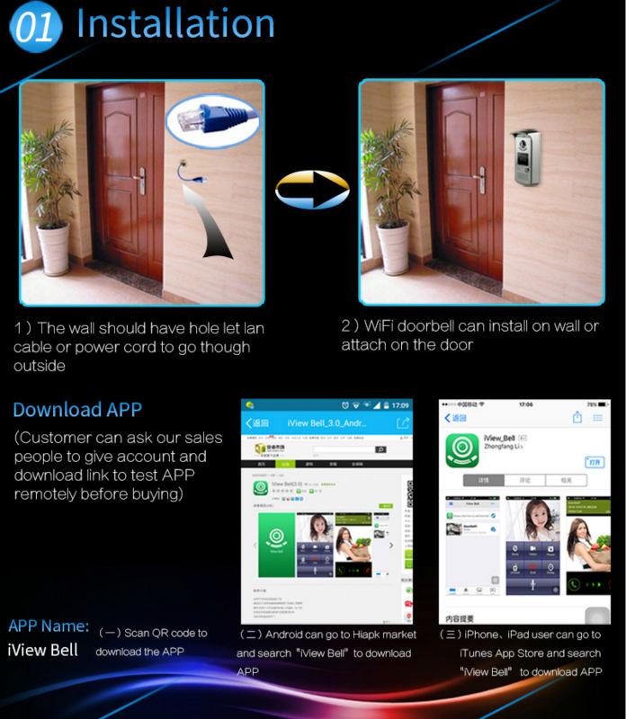 Motion detector door alarm wifi door viewer ding dong door bell IP video intercom with automatic door lock system via smartphone