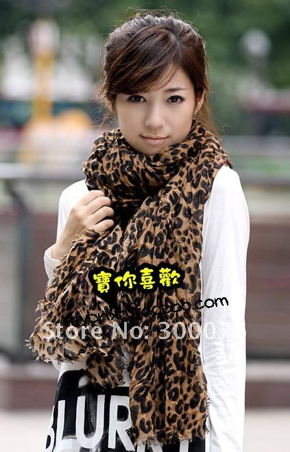 Animal Leopard Print Shawl wrinkle Scarf Wrap Stole Cotton Blends New sarves(China (Mainland))