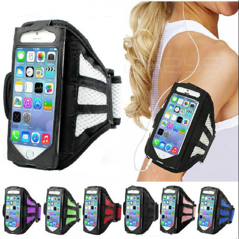 Sport arm band bag Case for Iphone 4 4s 5 5s SE 6 6s plus 7 7plus Grid Running Jogging arm sleeve Mobile Phone Cases(China (Mainland))
