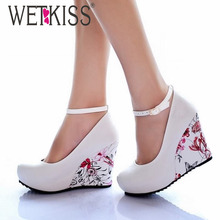 WETKISS Fashion Ankle Strap High Wedges Platform Pumps For Women Casual Elegant Flower Print Wedges Platform Shoes mary jane(China (Mainland))
