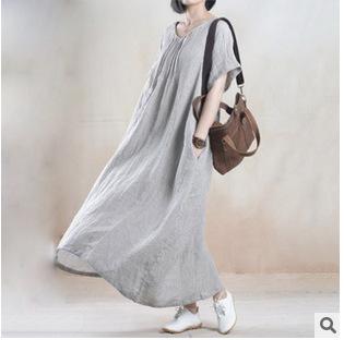 2015 robes femmes dresses women short sleeved linen dress black solid color casual dress women plus size long vintage vestidos(China (Mainland))