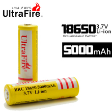 Factory Direct UltraFire Battery 18650 3.7 v Li Ion 5000mah Rechargeable Battery For LED Flashlights etc .