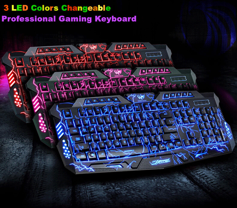 Original Brand 3 Colors Switchable Backlight Keyboard USB Wired Professional Computer Laptop Gamer Keyboard For Gaming Dota2 LOL(China (Mainland))