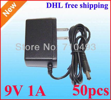 Wholesale 50pcs / Lot AC 100-240V to DC 9V 1A Power Adapter Supply 1000mA adaptor US plug / EU -EU Plug DHL free shipping(China (Mainland))