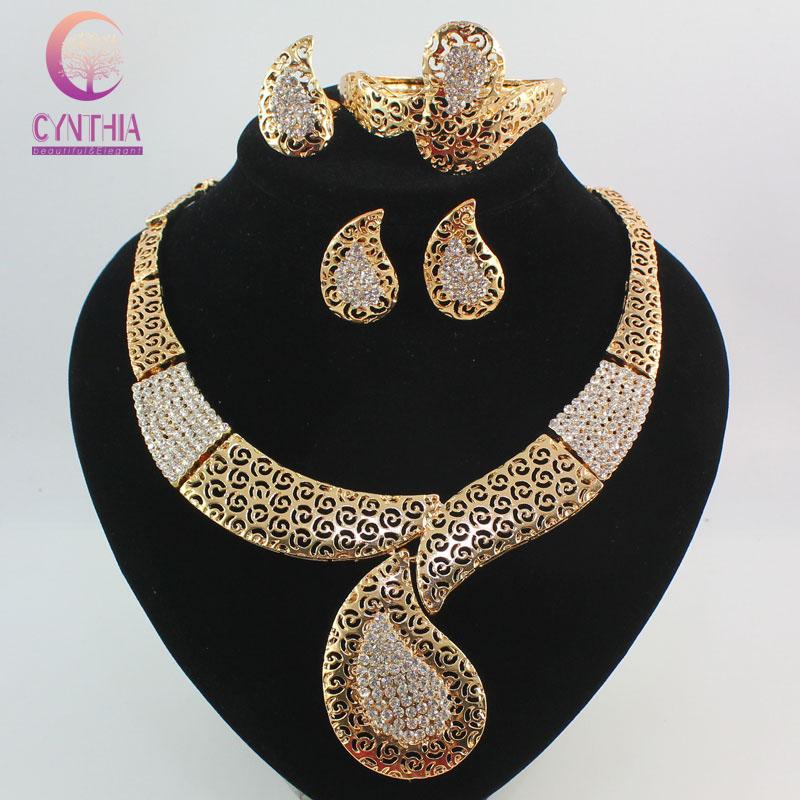 costume jewelry sets gold plated crystal women fashion wedding bridal
