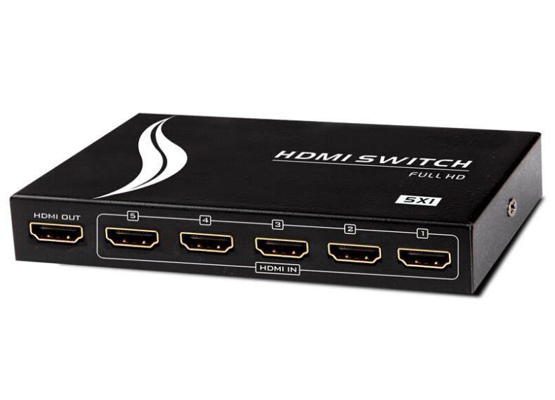 5x1 5 Port HDMI 1.4b Switch Matrix 5 in 1 Out Switcher Box with IR Remote Control Full HD Video HDCP VGA 1920 * 1440 1080p(China (Mainland))