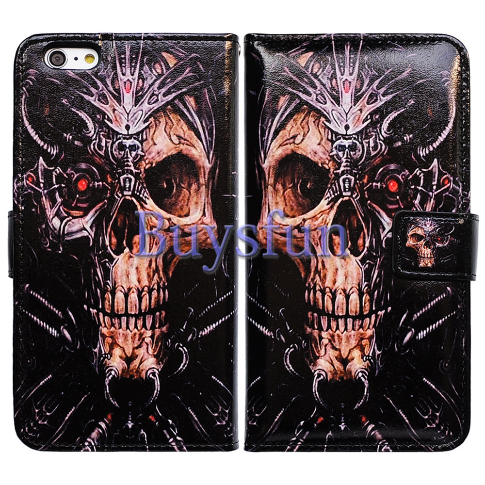 Bcov Robot Metal Skull Pattern Wallet Leather Cover Case For iPhone 6 Plus 100015814(China (Mainland))