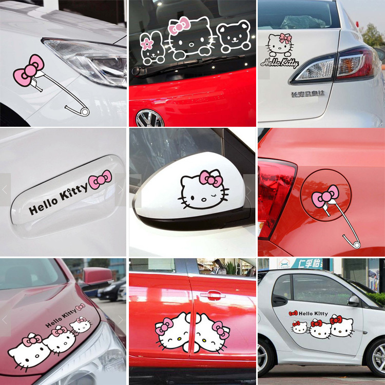 Reflective Cartoon Sticker single hello kitty car accessories pink bowknot auto car-styling for door mirror window body interior(China (Mainland))
