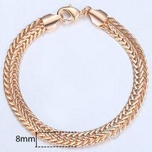 20cm pulseiras para homens 585 rosa ouro curb caracol foxtail venitian link correntes pulseiras masculinas moda jóias presentes kcbb1(Hong Kong,China)