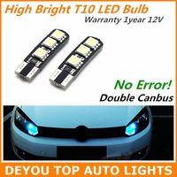 2pcs No Error High Bright Double Canbus T10 LED Light Bulb For Car wedge singnal Width Lamp light W5W 194 168 921 2825 192 555