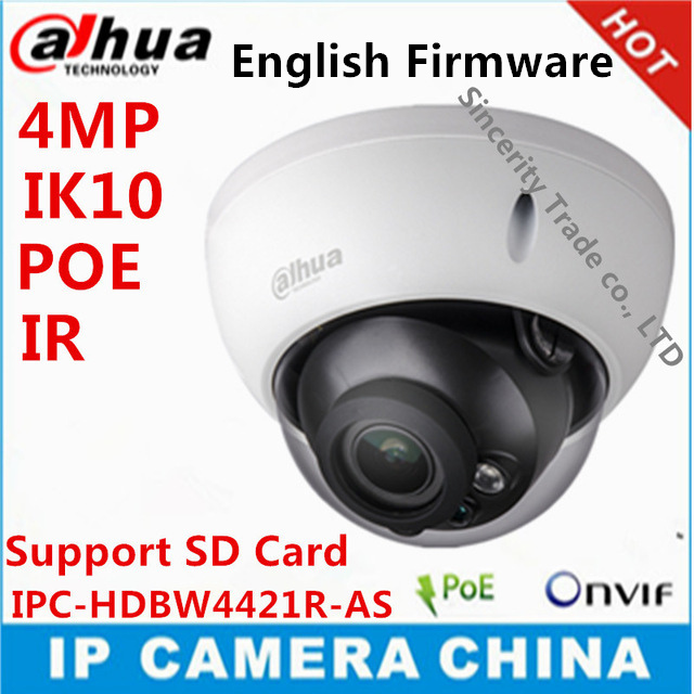 Dahua 4Mp IPC-HDBW4421R-AS IP camera network camera DH-IPC-HDBW4421R-AS Support POE / Micro SD storage/Audio 1/1 channel In/Out(China (Mainland))