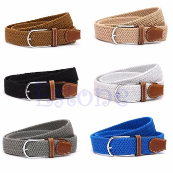 Men Leather Braided Elastic Stretch Cross Buckle Casual Golf Belt Waistband New