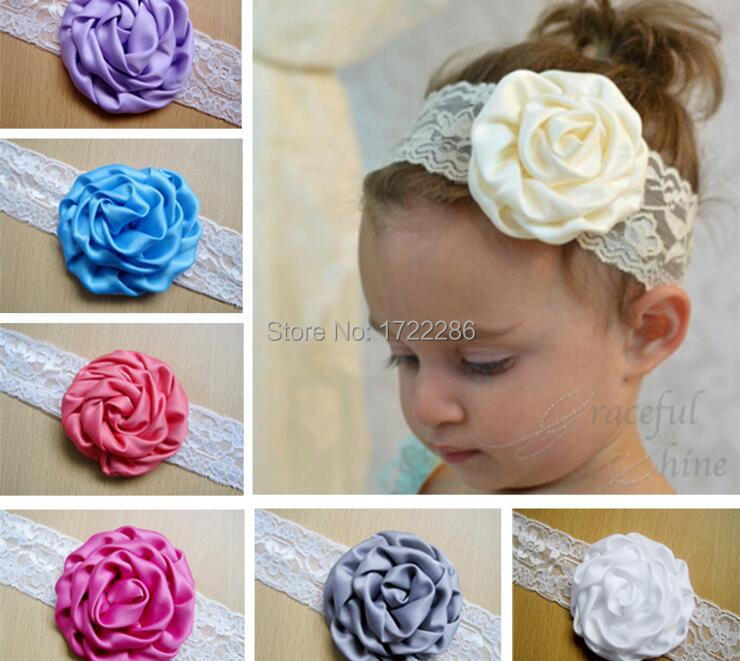 1 Pcs 2016 new Kids Baby Girl Toddler Lace Rose Flower Headband Wide Band Hairband Soft Elastic Hair Band Headwear Accessories(China (Mainland))