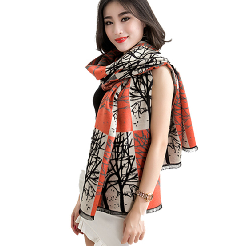 Korean version of spring and winter scarf shawl scarves dual female wild thick cashmere shawl long paragraph printed scarf(China (Mainland))