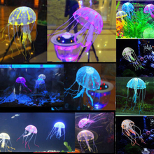"Real Acuarios Hot Selling! 5.5"" Glowing Effect Artificial Jellyfish For Aquarium Fish Jar Tank Ornament Swim Decoration On Sale(China (Mainland))"