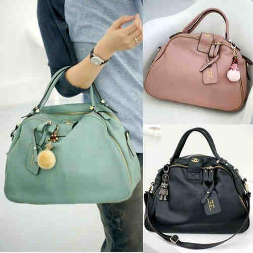 Free Shipping Hot Sale Women Leather Handbags Shoulder Crossbody Bags Genuine Leather Bag Bolsas Pink Black Blue BR261(China (Mainland))