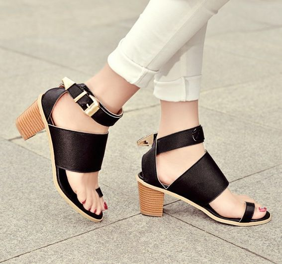 product 2015 Summer Zuecos Thick Heel Sandals Women's Summer Sandales Belt Buckle Open Toe Sandals Black White Zapatos Verano Mujer