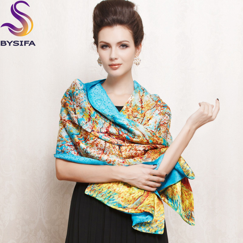2014 New Design China Style Long 100% Pure Silk Scarf 175*52cm Hot Sale Female Digital Printing Design Blue Mulberry Silk Scarf(China (Mainland))