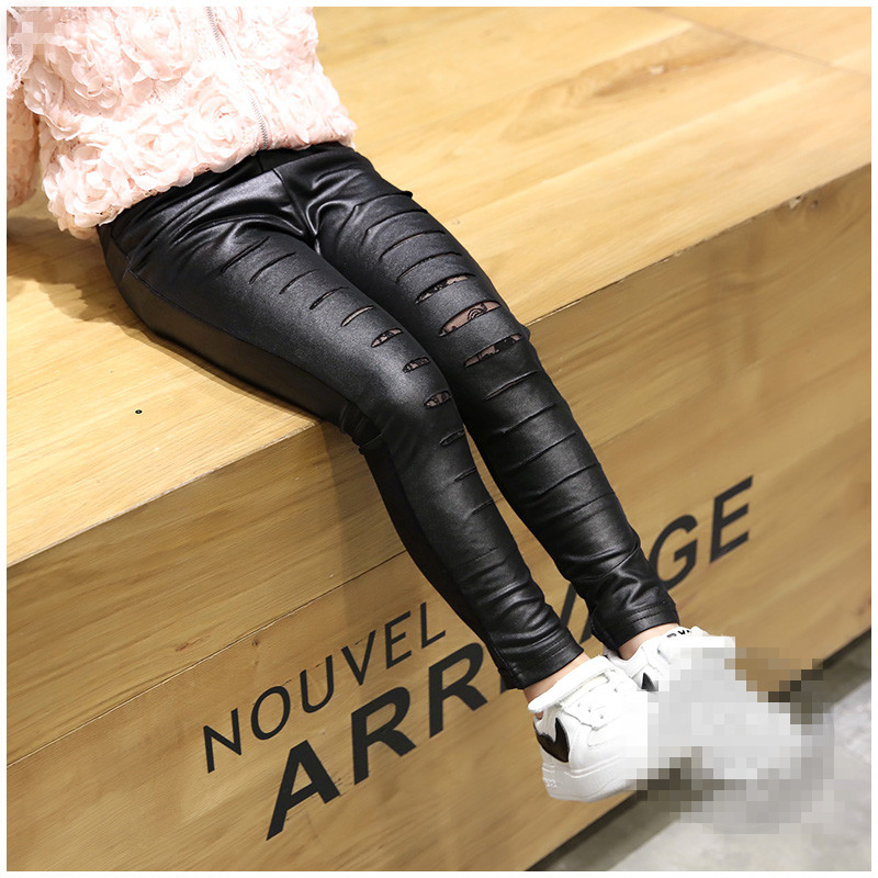 wholesale 2016 Spring NEW fashion Child girls Black Hole leather leggings<br>