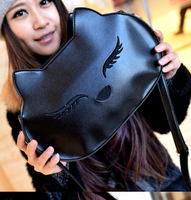 1pcs/lot free shipping woman cute cartoon cat shoulder bag Messenger bag with high quality PU leather