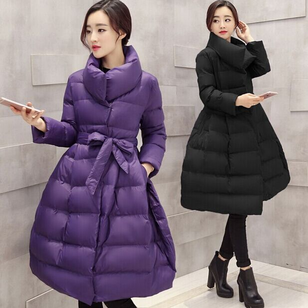 Фотография Limited Coat Women 2015 Winter Jacket Long Clothing Skirt Thick Sashes Solid Offer Wadded Coats Down Parka Woman Jackets Bow