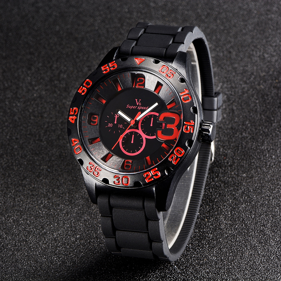 Top Famous Brand V6 Import Quartz Movement Silicone Straps Watch Analog Relogio Clock Casual Fashion Men Quartz Watches(China (Mainland))