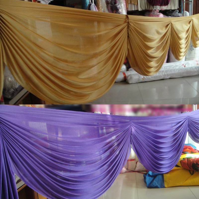 6 meter gold color detachable swags for decoration wedding for Background curtain decoration
