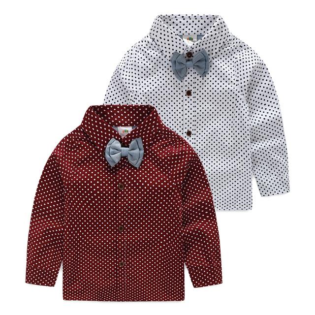 Mudkingdom 2017 НОВЫЙ горошек дизайн длинный рукав мальчиков рубашки весна и осень turn down воротник дети рубашка мальчик формальный одежда