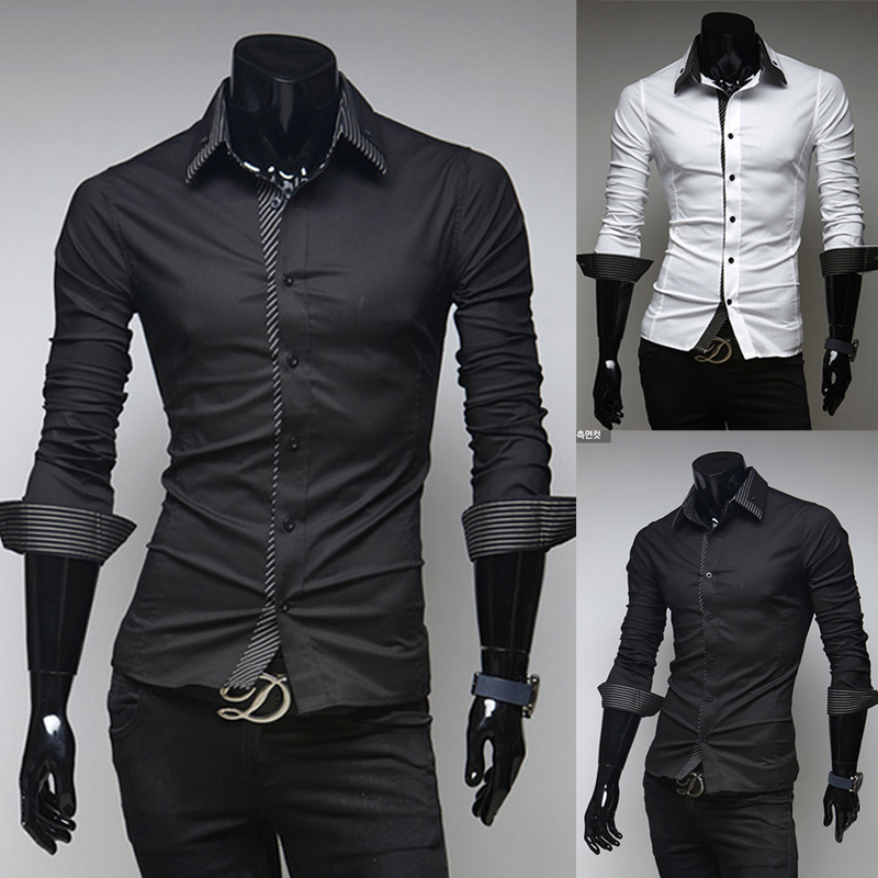 2015 most popular long sleeve casual hombre blusas slim fit mens dress shirts white camisa masculina(China (Mainland))