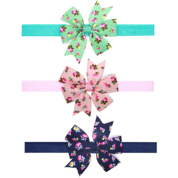 children accessories child Infant newborn Baby girl accessories Ribbon floral print Bowknot Toddler Head bands kids Hair Bands