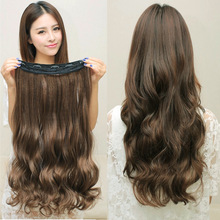 2016 60g/piece Promotion Ladies 5 Card Volume Hair Extensions One Piece Seamless Thickened Clip Curtain Wig Manufacturers Spot
