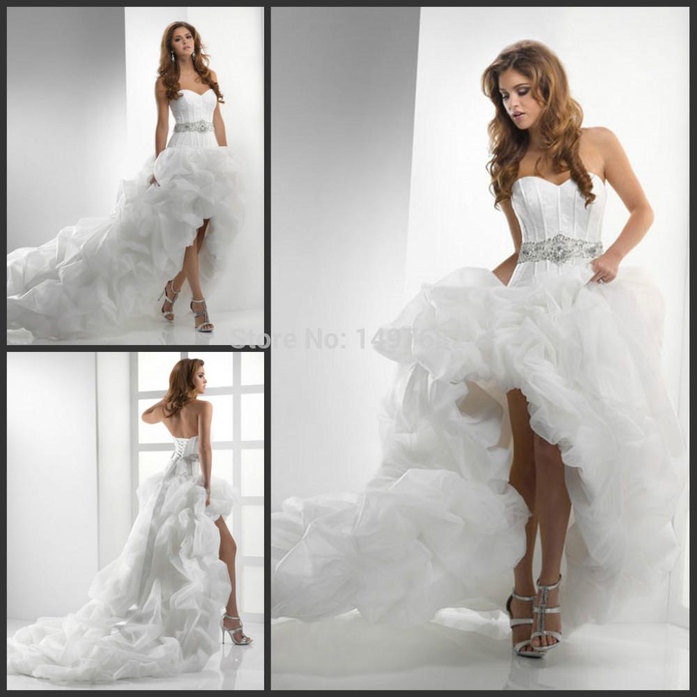 Popular short front long train wedding dresses buy cheap for Best selling wedding dresses