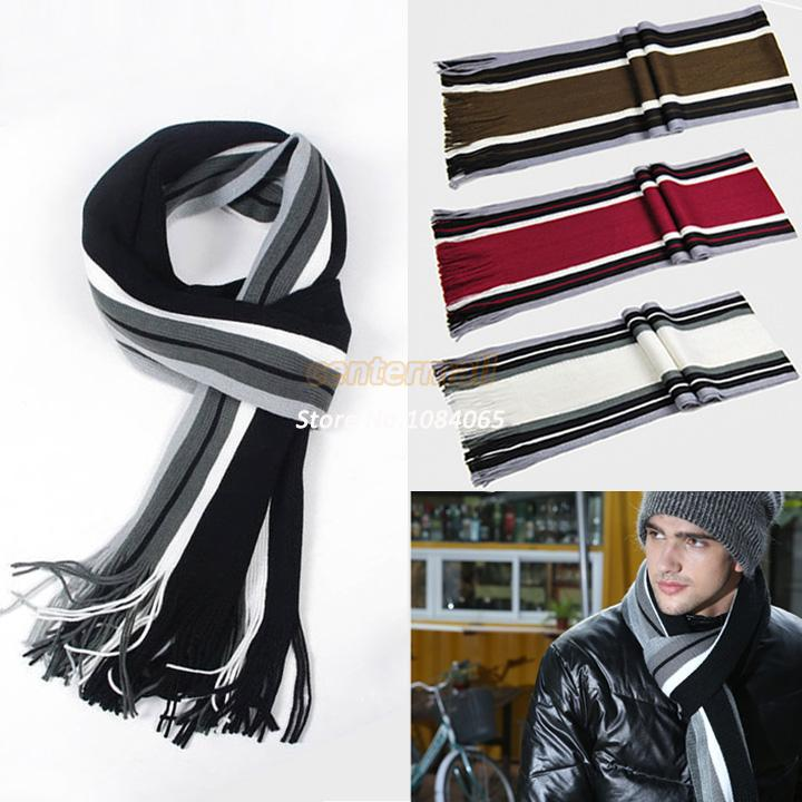 New Men's Winter Classical Striped Artificial wool Scarf Men Tassels Scarf Long Pashmina Shawl Drop shipping 10(China (Mainland))