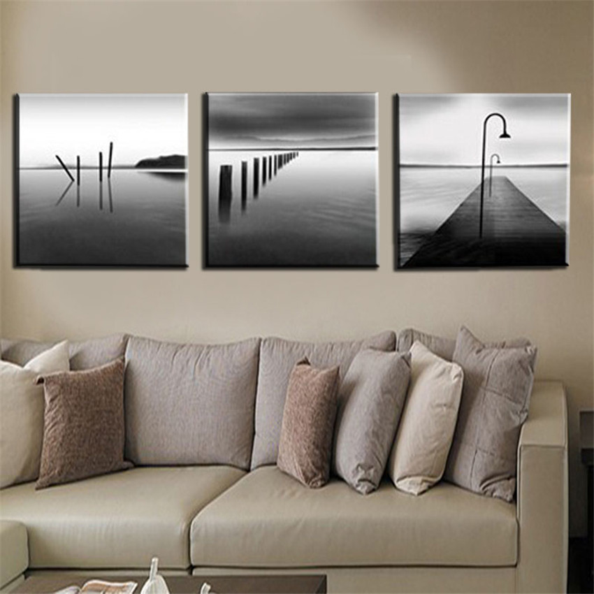 3 Piece Modern Printings Abstract Black White River Scenery Canvas Printings Home Decoration Art Picture Paint on Canvas Prints(China (Mainland))