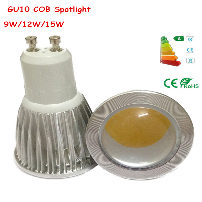 GU10 COB Spotlight AC85-265V 9W 12W 15W LED Light Bulb Warm white / White / Cool white LED lighting(China (Mainland))
