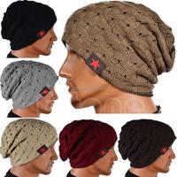 B39 2015 newest Men Knit Skull Chunky Beanie Reversible Baggy Cap Warm Winter Unisex Women Hat free shipping