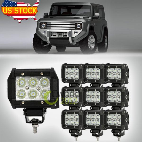 10PCS 4'' CREE 18W LED Work Light Bar Flood Beam ATV Vehicle Auto 4X4 4WD UTV Motorcycle Headlight SUV Offroad Driving Fog Lamp(China (Mainland))