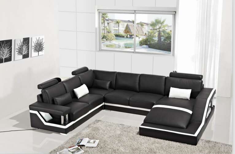 leather corner sofas with genuine leather sectional sofa Black(China (Mainland))