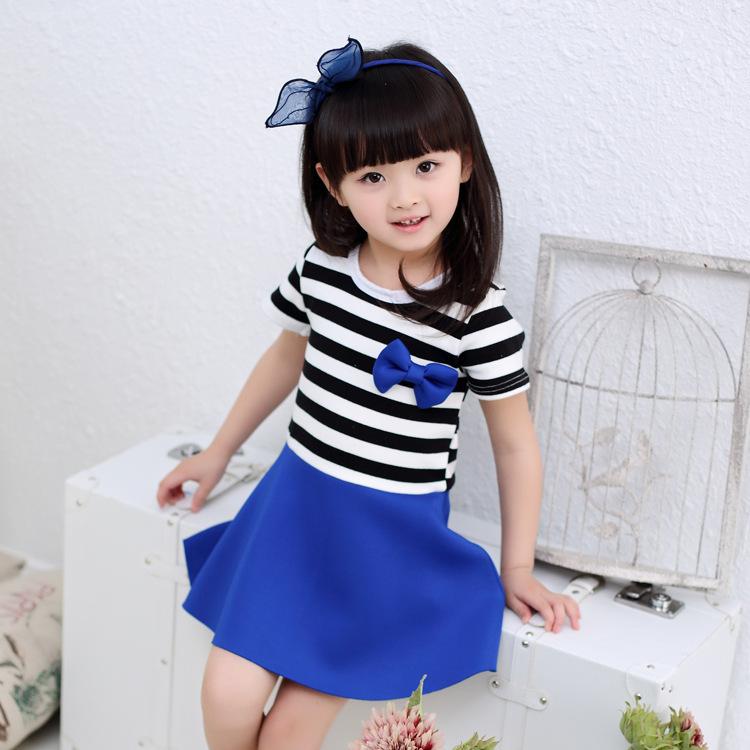 Cute Baby Girl in Blue Dress Cute Baby Girl Stripe Red