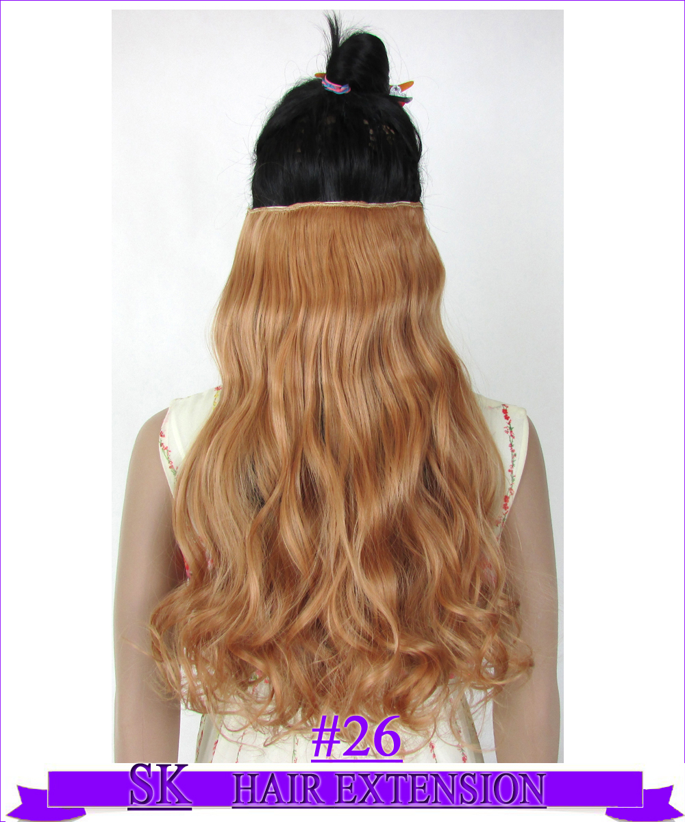 24 (60cm) 120g Curly hair piece no shiny hot resistant fiber clip in hair extensions Color #26 Light Copper Red<br><br>Aliexpress