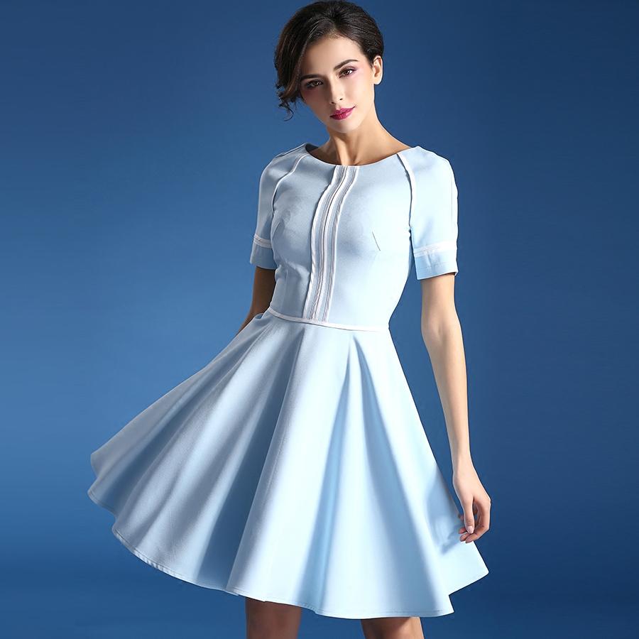 2016 Spring New England College sweet cute dress OL blue short sleeve nice A-line dresses girls fashion street pleated dress(China (Mainland))