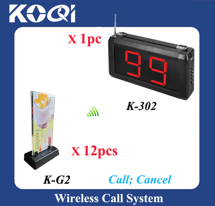 Table Paging System, Wireless calling bell, one monitor with 12 buzzer service alarm equipment(China (Mainland))