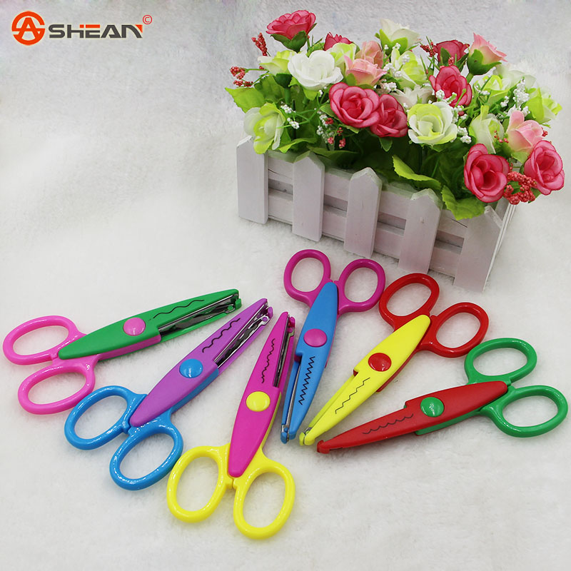 Hot Sell Kids Scissors for DIY Handmade 6 Patterns Laciness Scissors for Photo Album Card Decorative DIY Scissors(China (Mainland))