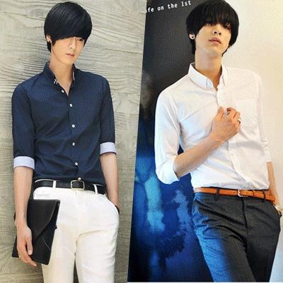 Cotton Camisas Man New 2014 Dress Shirt Summer Men's Three Quarter Sleeve Plaid White Blue XXXL - Star men's clothing store
